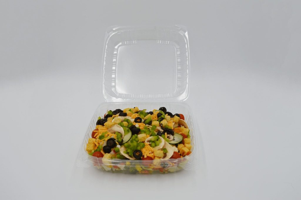 salad in clamshell packaging