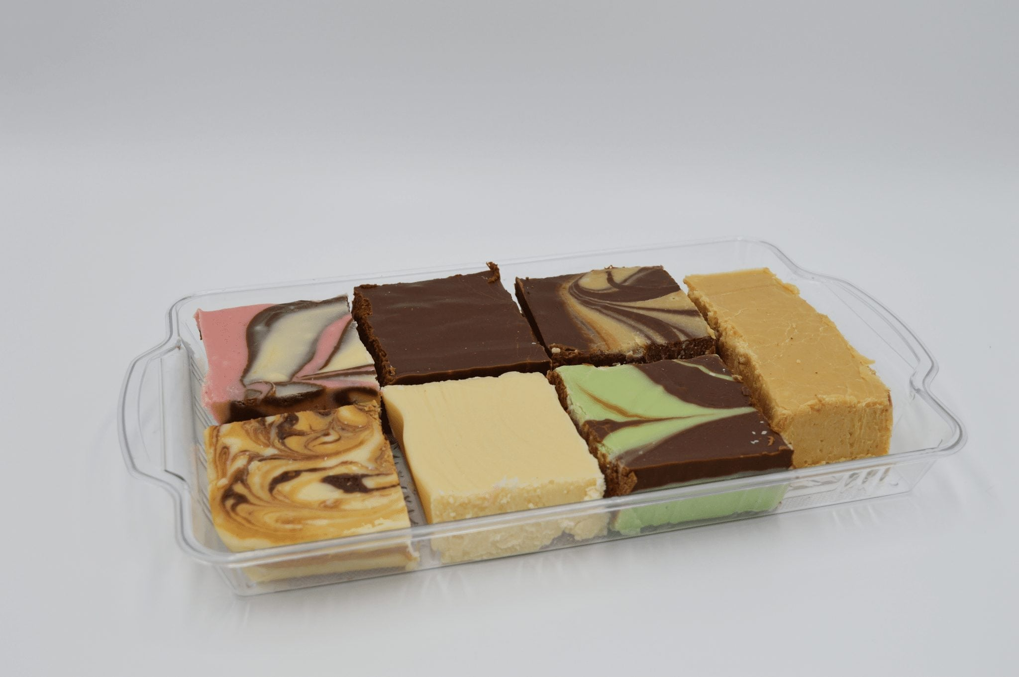 squares of fudge in various flavors