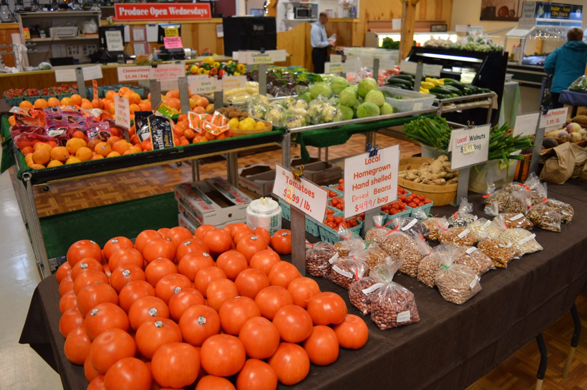 fresh produce and dried beans
