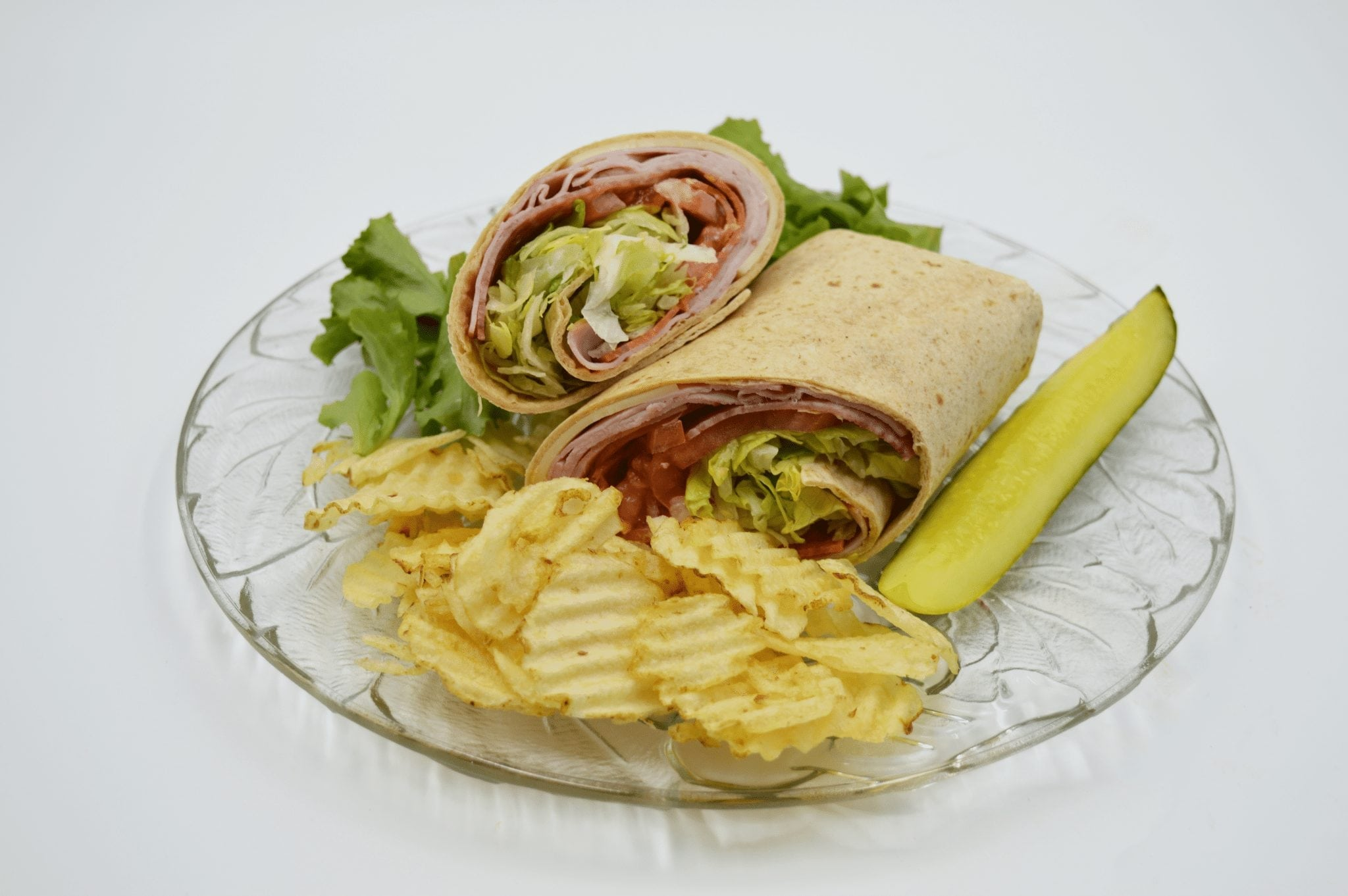 wrap with chips and a pickle spear