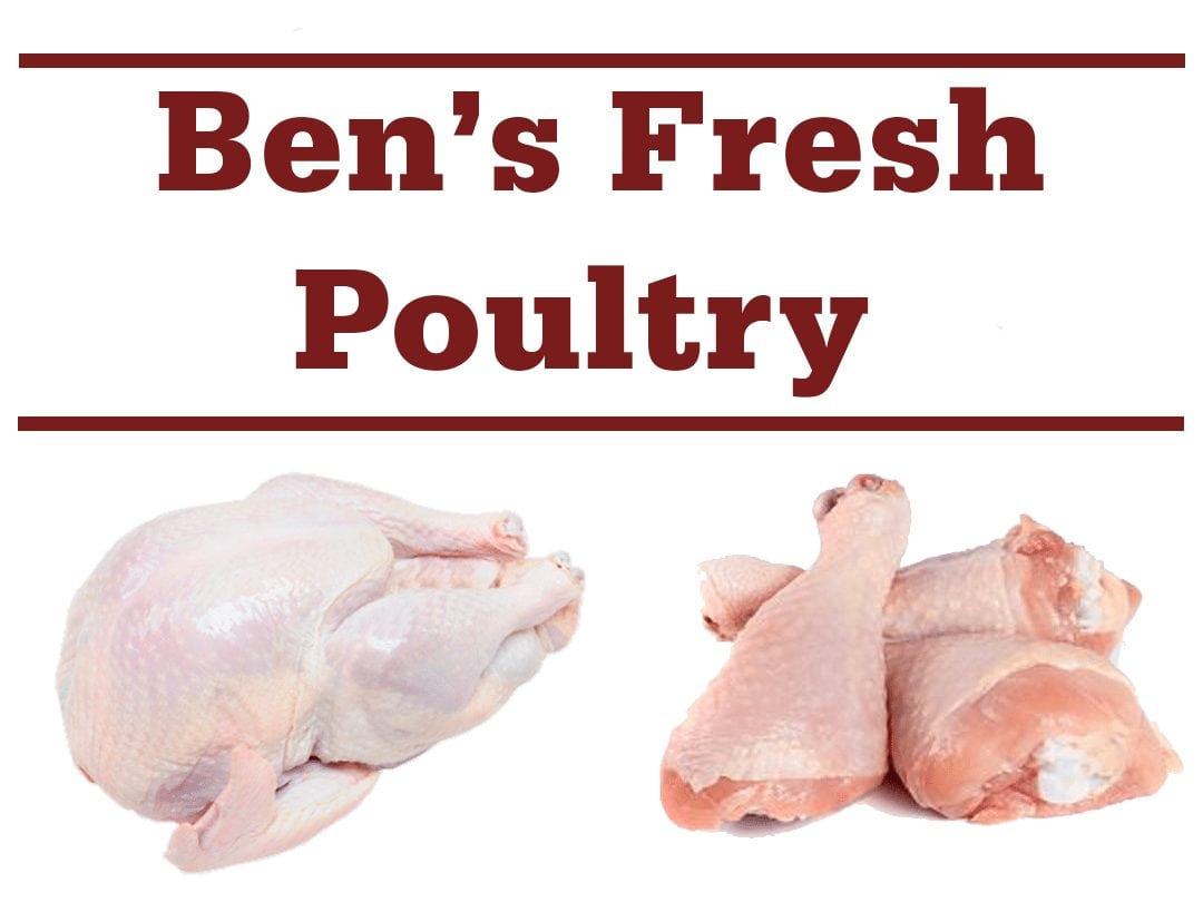 "a raw whole chicken and raw chicken legs with words ""Ben's Fresh Poultry"""