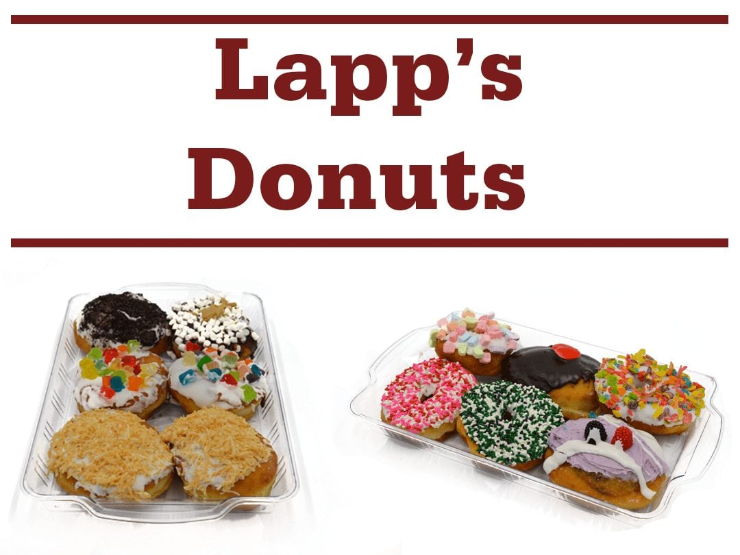 """various donuts and words """"Lapp's Donuts"""""""