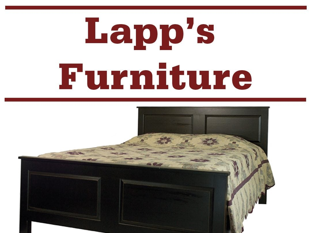 "a bed and the words ""Lapp's Furniture"""