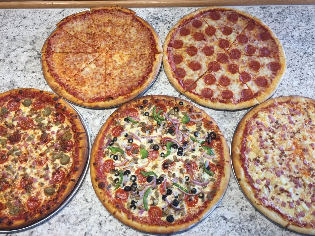 various different types of pizza